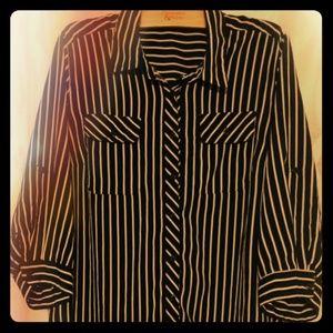 1/5  Notations Women's Blouse Size M Black & White